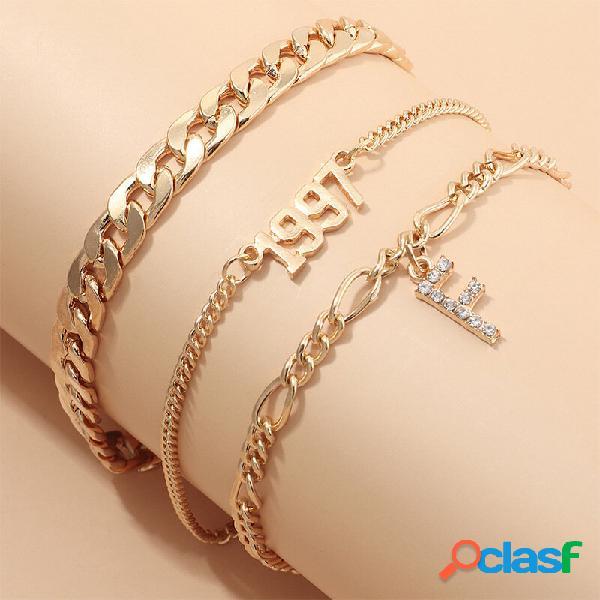 Cadeia grossa do vintage strass f letra pingente pulseira de metal geométrica 1997 anos pulseira de multicamadas