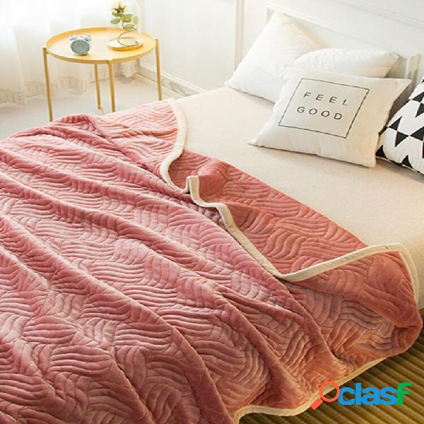 Edredom de flanela dupla face, lã de algodão coral, manta de enchimento de tamanho grande