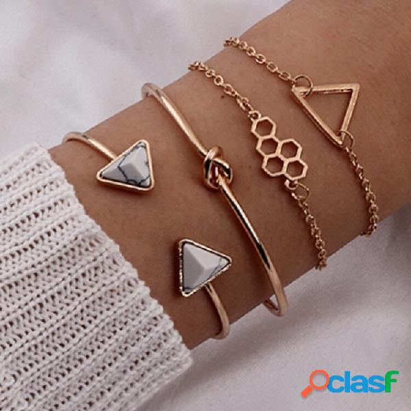 Geométrica do vintage triângulo oco favo de mel pingente pulseira triângulo de metal abertura de mármore pulseira de vár
