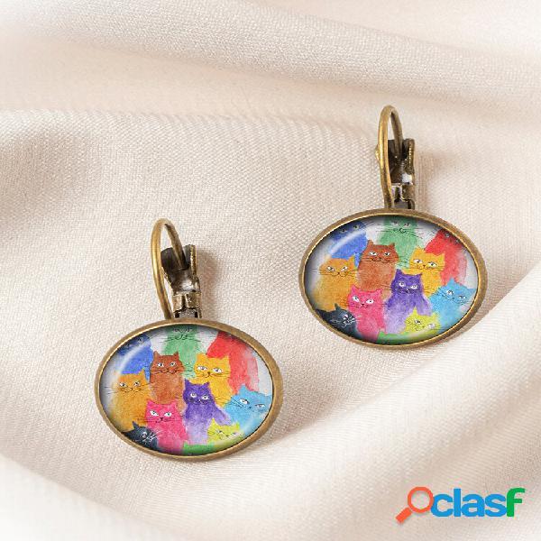 Metal redondo vidro multicolorido gato estampado feminino pingente brincos