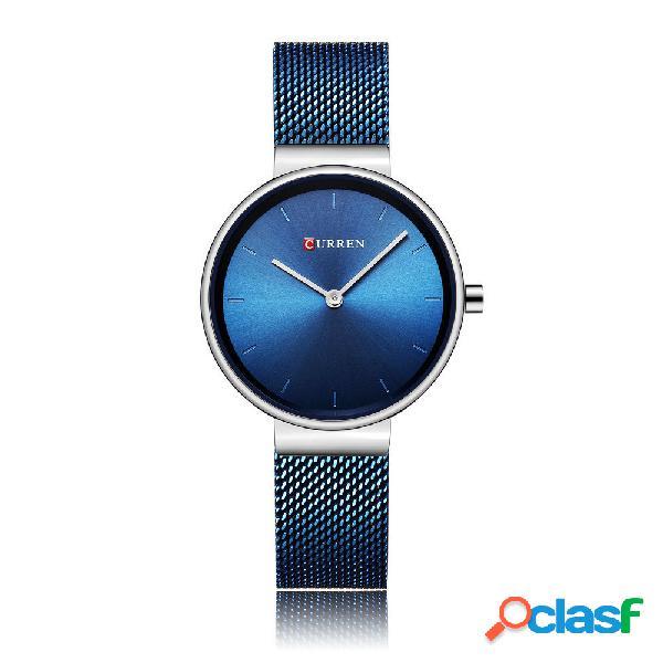 Relógios de quartzo das mulheres de luxo minimalista laser dial ultra fino malha de aço inoxidável relógios de pulso