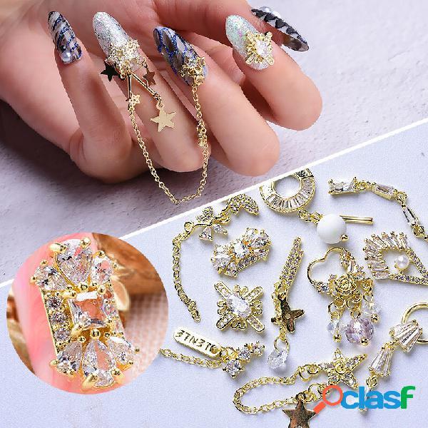 Diy zircão pingente unhas arte decoração de alta qualidade banhado a ouro zircão borla jóias