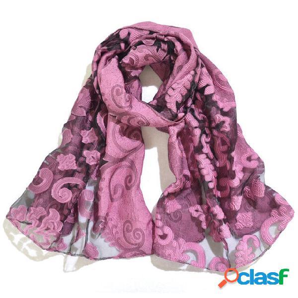 Estilo étnico bordado xale de seda cachecol flor xale rosa