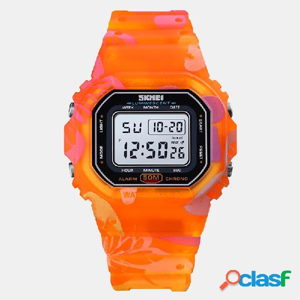 Relógio esportivo masculino feminino e feminino com mostrador retangular cronômetro à prova d'água led colorful relógio