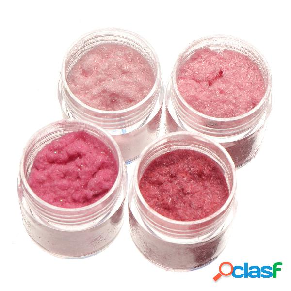 4 pcs velvet prego decoração fina de veludo em pó rosa série nail art diy manicure em pó prego beleza