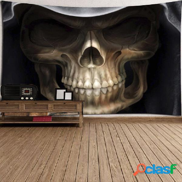 Desenhos animados caveira tapeçaria impressa para pendurar na parede, toalha de mesa de poliéster para decoração de casa
