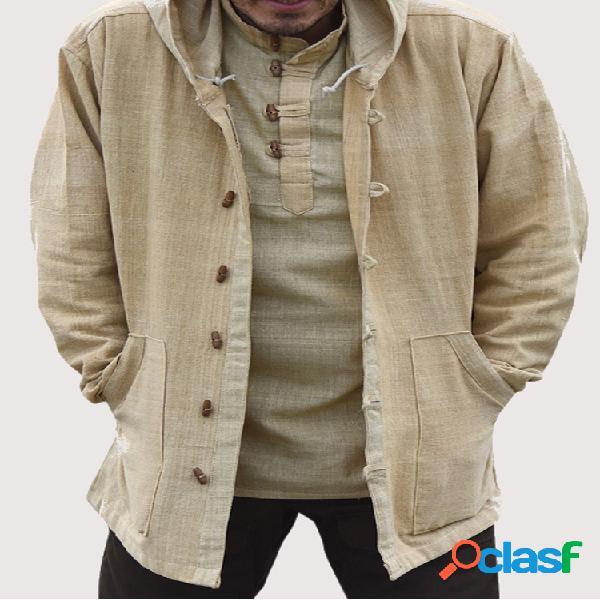 Mens algodão vintage étnico simples com capuz manga longa camisa