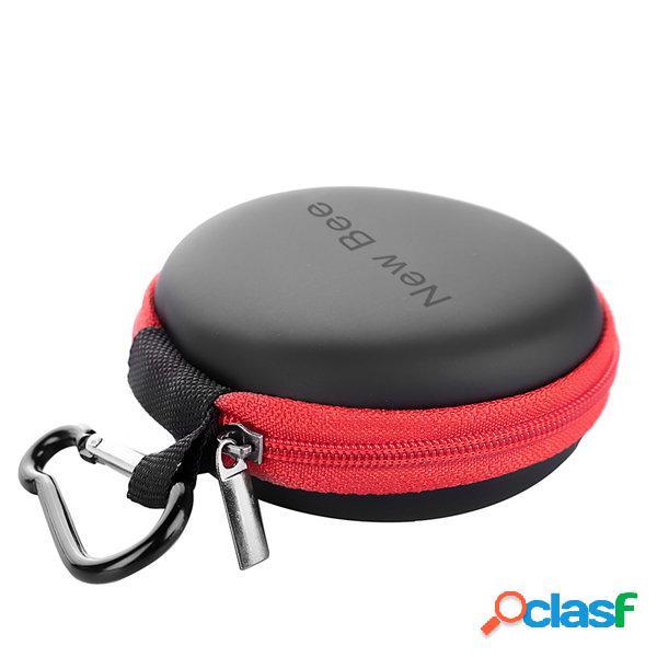 Newbee portable eva a prova de choque, a prova de poeira, cabo de áudio, fone de ouvido, saco de armazenamento