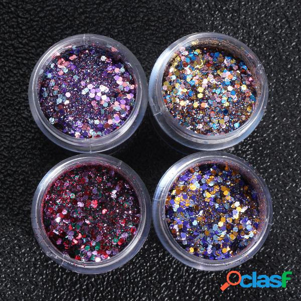 4 pots nail art glitter powder sequins sparkly colorful christmas iridescent acrylic tips