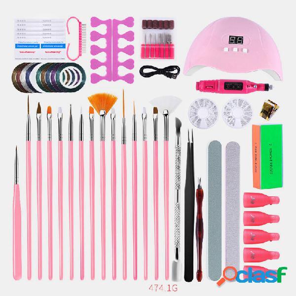 Gel de manicure unhas kit polonês elétrico unhas broca conjunto de máquina de fototerapia caneta pintada conjunto de man