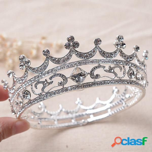Noiva rhinestone cristal crown tiara cabeça jóias princesa rainha headpiece acessórios do casamento