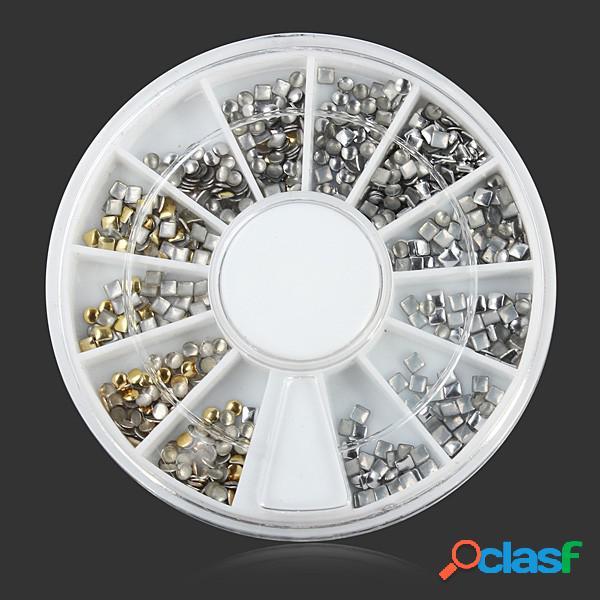 Square round metal diy nail art decoração roda