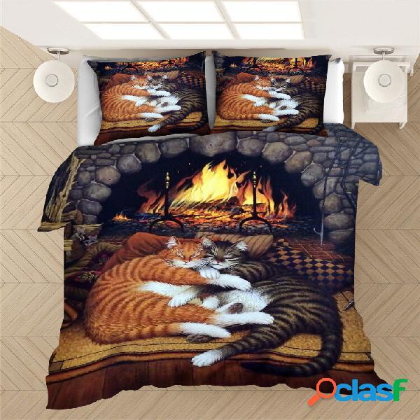 2/3 unidades gatos dormindo padrão conjunto de capa de edredão confortável fronha conjunto de edredão com cama de casal