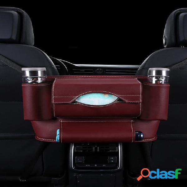 Cadeirinha de couro pu traseira intermediário bolsa recepção e suspensão automática bolsa mala de carro organize bolsa