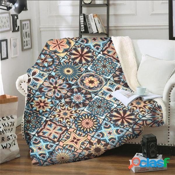Cobertor geométrico padrão de lã coral para almoço. cobertor de sofá com ar condicionado