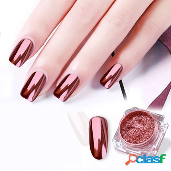 Rose gold espelho prego em pó metálico decoração de unhas manicure em pó diy nail art beleza