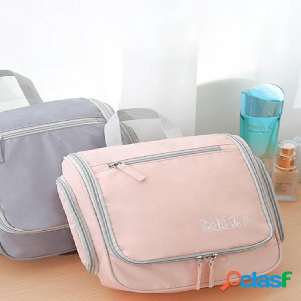 Cosmetic bolsa travel wash bolsa candy color small orelha wash bolsa solid color gancho wash bolsa