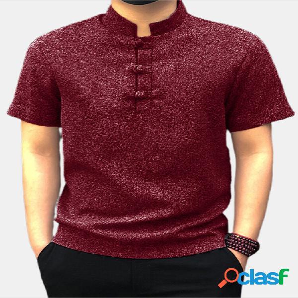 Homens soild chinês botão decote em v manga curta henley camisa