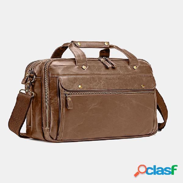 "Laptop retro multifuncional masculino de 15,6 ""laptop bolsa maleta de mão crossbody bolsa"