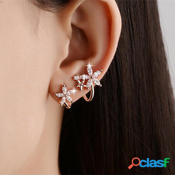 Flor de cristal de zircão doce brincos moda orelha clipes de osso rosa ouro prata brincos para mulheres