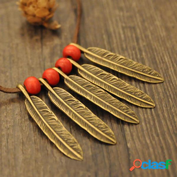 Geométrico do vintage folha miçangas pingente veludo corda colar de metal esculpido folha borla cadeia de camisola de co
