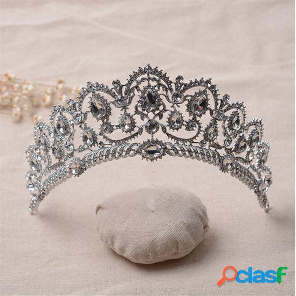 Noiva strass cristal princesa rainha coroa tiara cabeça headpiece headpiece festa de casamento headband