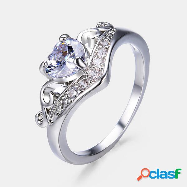 Pêssego geométrico do vintage coração anéis coroa oco gema anéis de strass jóias chiques