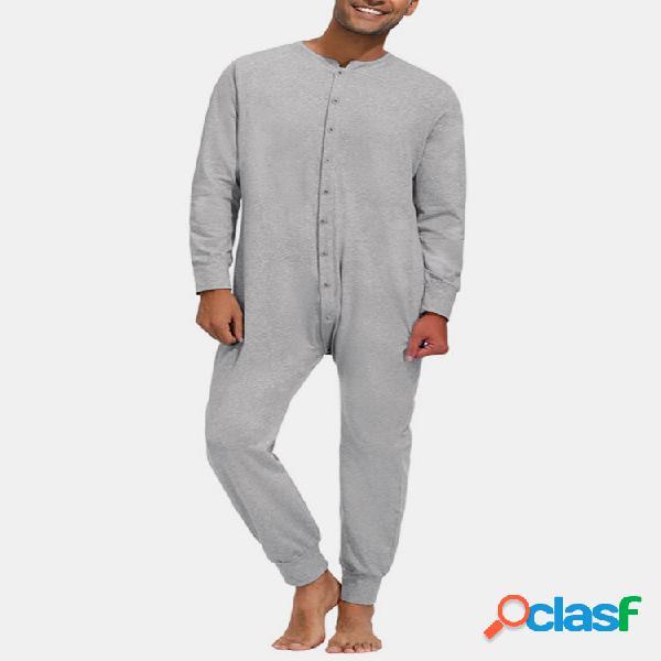 Pure color casual fino soft home manga comprida com decote em o macacão masculino