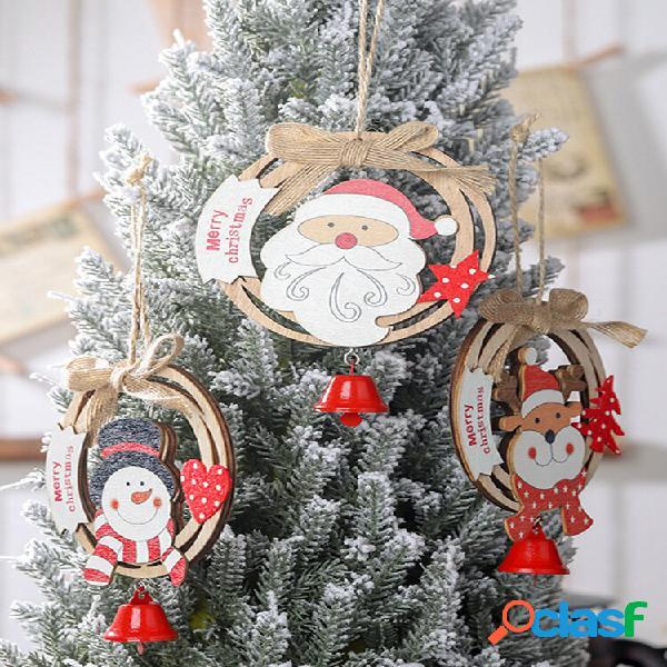 1 pc coroa de natal de madeira pingente arco criativo com ornamento de anel de madeira sinos marca pingente