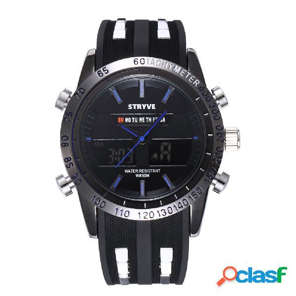 Stryve sport digital quartz relógios 30 metros waterproof moda rodada dial black band watch para homens