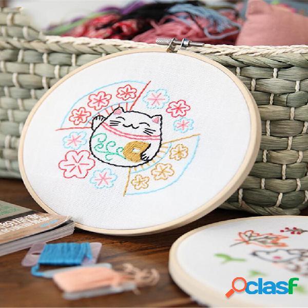 Desenhos animados diy fitas bordados para iniciantes kits de costura artesanal de ponto cruz material de costura decoraç