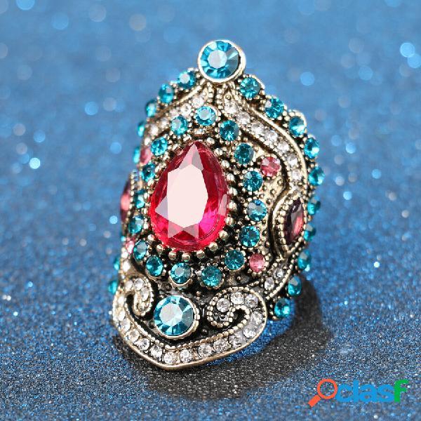 Gota de água geométrica do vintage rosa anéis de strass anel de dedo embutido de cristal azul de metal