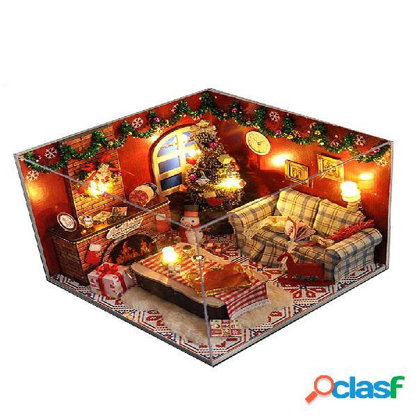 Kits de móveis para casa de bonecas de madeira led quarto de natal em miniatura leve, faça você mesmo