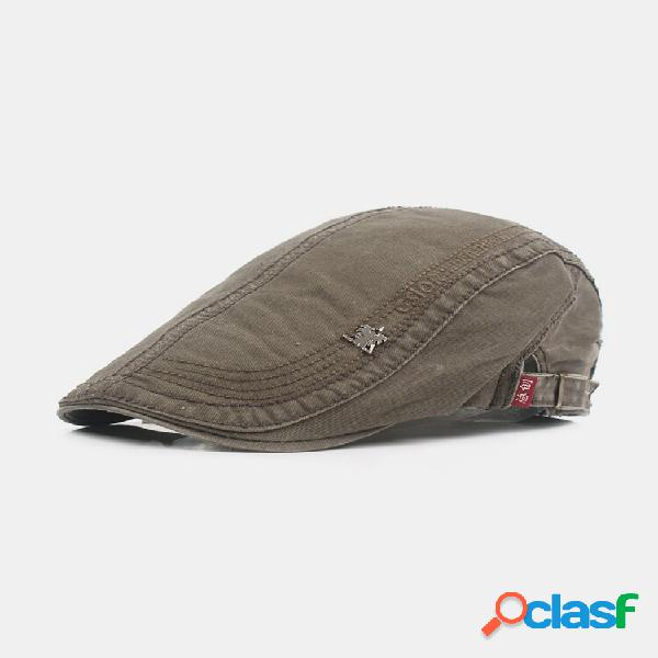 Máscara masculina de algodão cor sólida casual moda plana chapéu frente chapéu boina chapéu