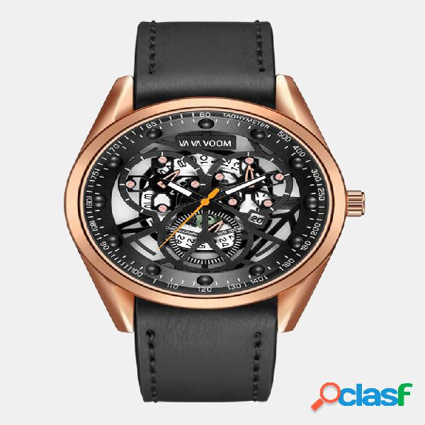 Relógio de negócios masculino com mostrador oco ao ar livre dports impermeável relógio de quartzo