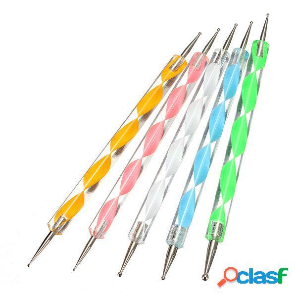 5 pcs 2 maneiras marbleizing nail art dotting paint pen manicure tool