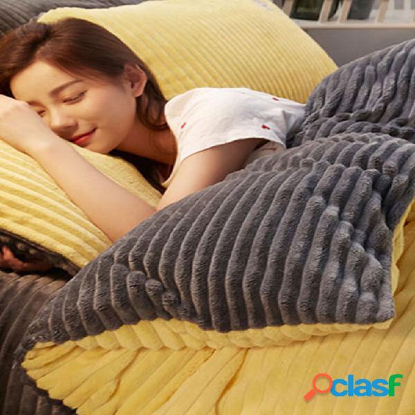Conjunto de roupa de cama de inverno de veludo cotelê com 4 peças espessas e frente e verso soft cama de casal queen siz