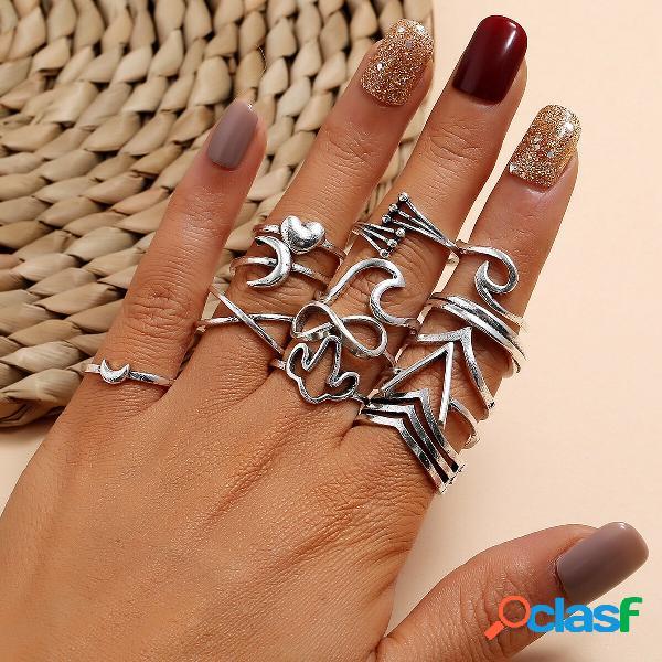 Ondas do mar geométricas vintage símbolo infinito anéis metal lua pêssego coração conjunto de anéis