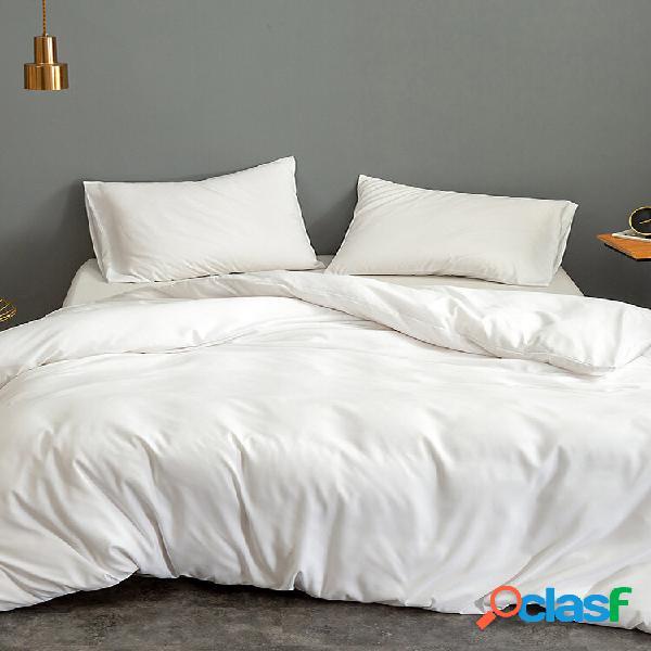 3 unidades / conjunto conjunto de roupa de cama de seda de cor sólida para casa têxtil conjunto de cama king size roupa