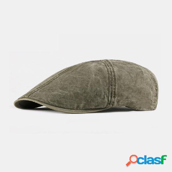 Homens e mulheres algodão estilo britânico street trend cor sólida exterior casual retro para a frente chapéu plana chap