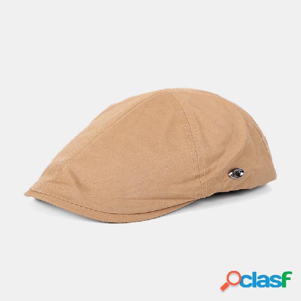 Masculino e feminino de algodão estilo britânico sólido casual respirável para a frente chapéu plano chapéu