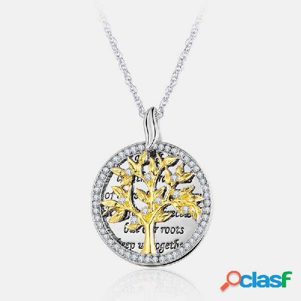 Rodada geométrica do vintage pingente colar de strass de metal árvore de vida oca pingente colar
