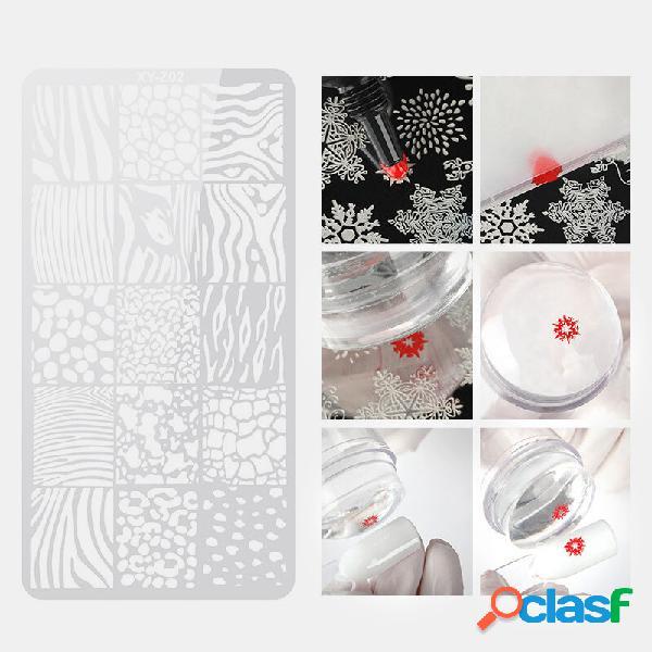 1 pc unhas placa de aço de impressão flor animal padrão retangular unhas art selo modelo ferramenta de manicure diy