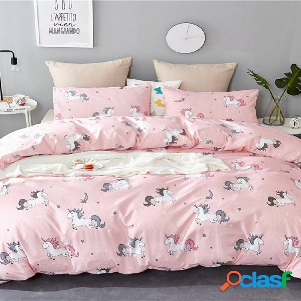 2/3 unidades rosa unicorn romantic double stripes banana folha fronha de edredom com capa de edredom conjunto de roupa d