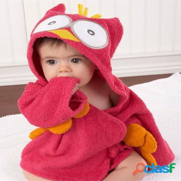 Roupão de banho de algodão infantil bonito estilo desenho animado roupão de banho com capuz adequado para bebê
