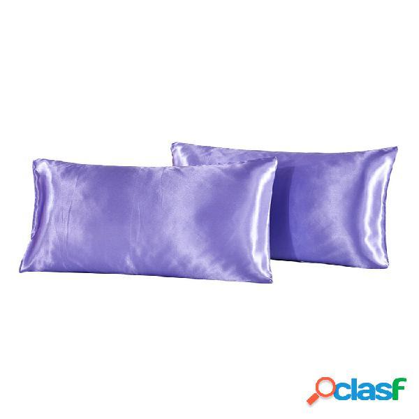 2 unidades / conjunto soft travesseiro de cetim de seda caso roupa de cama fronha de cor sólida capa de casa suave decor