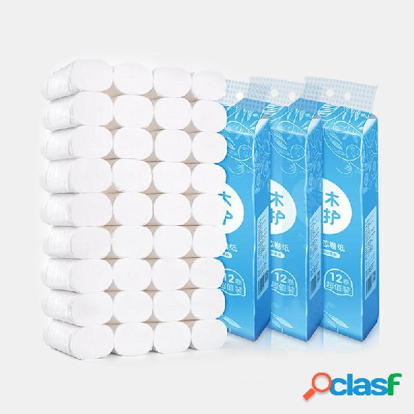 36 rolos de papel coreless para uso doméstico toalha 4 camadas engrossar papel higiênico de polpa de madeira amigo da pe