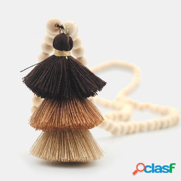 Borla estereoscópica de três camadas cor bohemian hit pingente colar de corrente de suéter longo com cercadura de madeir
