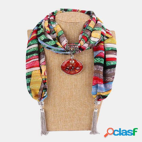 Colar de lenço feminino de chiffon borla vintage geométrico pingente flor folha padrão colar xale