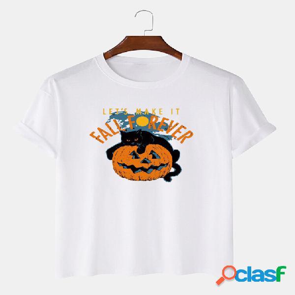 T-shirt casual de manga curta para homens 100% algodão para halloween com slogan impresso